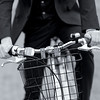 Zagster Bicyclist in Suit with Handle Bar Detail