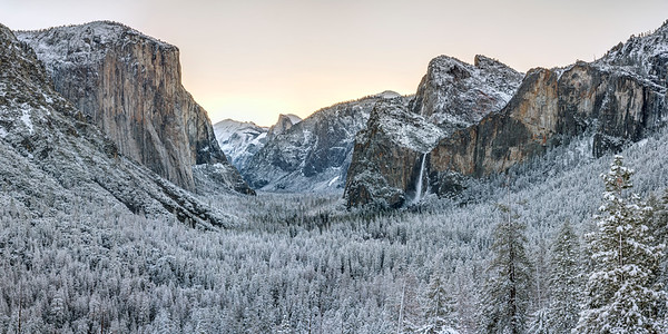 Snowy Sunrise Panorama in Yosemite
