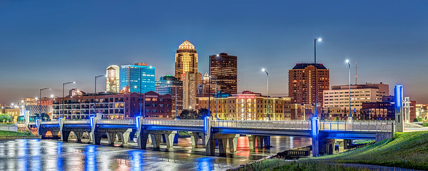 Des Moines and the Martin Luther King Junior Bridge Panorama