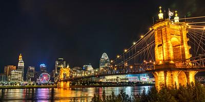 Cincinnati and the John A Roebling Suspension Bridge