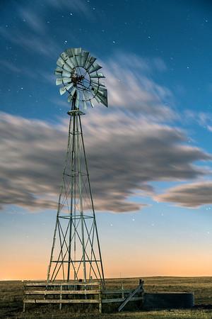 Pawnee Windmill at Night