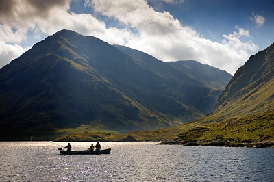 Flyfishing from boat Doolough, Delphi Fishery, Connemara, Ireland