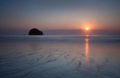 Trebarwith Strand sunset, Cornwall
