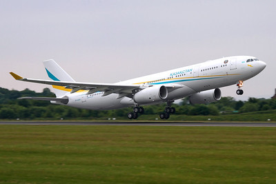 Reg: UP-A3001 Operator: Government of Kazakhstan Type:  Airbus A.330-243 C/n: 863 Location:  Manchester - Ringway (MAN / EGCC) - UK   Departing runway 23L after a repaint into this new scheme at Manchester, next stop its home base of Astana.     Photo Date: 02 June 2013 Photo ID: 1300694