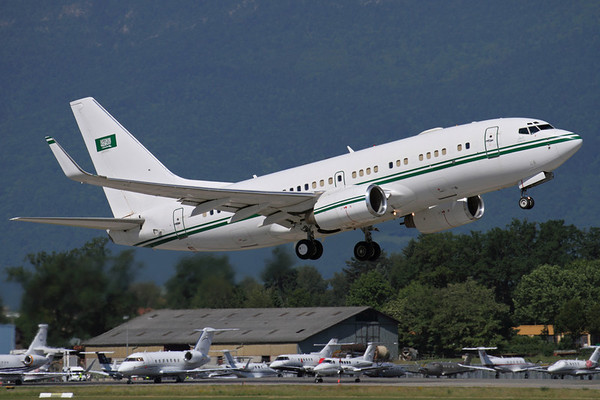 Reg: HZ-101 Operator: Royal Saudi Air Force Type: Boeing 737-7DPW BBJ C/n: 32805/940   One of two BBJs operated by the Saudi Arabian Air Force special operations flight in VIP configurations, here seen departing Geneva during EBACE 2011.     Photo Date: 17 May 2011 Photo ID: 1200359