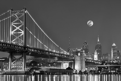 Full Moon Over Ben Franklin Bridge, Penn Presbyterian Center for Advance Care
