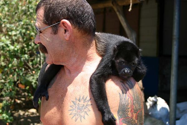 Joaquin with his Howler mono, named Chi Chi - cuidad of Nosara - Nicoya peninsula (northwest) - Guanacaste province
