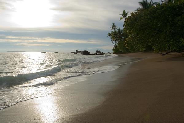 Playa San Josecito - beyond the coastal rock outcrops, along the western Osa Peninsula - out to Isla de Cano (marine reserve), along on the horizon - Puntarenas province