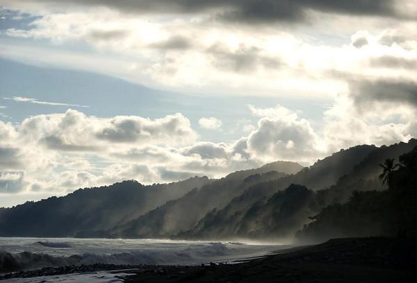 Early morning rainforest mist below the cumulus clouds - along the La Leona Coastal Trail - Corcovado National Park - Osa Peninsula - Puntarenas  province