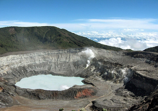 Volcan Poás (Poas Volcano) - the largest active crater on Planet Earth - measuring .9 mi. (1.4 km) diameter and over 1,000 ft. (305 m) deep - Poás National Park - Alajuela province - Costa Rica.