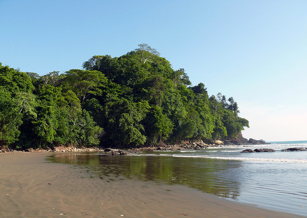 Playa Ballena, the southern end - at the Parque Nacional Marino Ballena (Marine Whale National Park) - with Isla Cano seen beyond the point - Puntarenas province