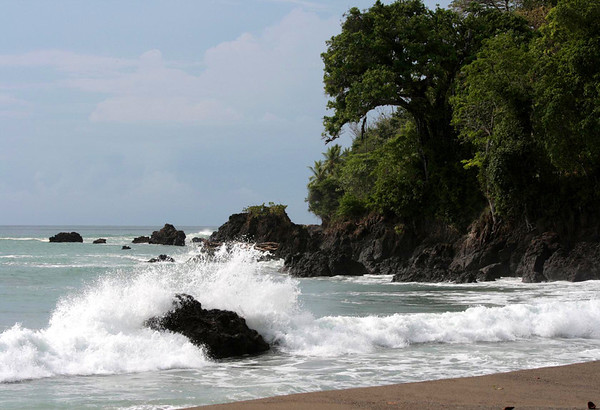 Waves breaking at Cabo Matapalo (Cape Strangler Fig) - the southernmost headland tip of the Osa Peninsula - where the Pacific meets the Dulce Golfo (Sweet Gulf) - Puntarenas province