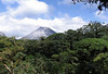 Volcán Arenal - southern view of the peak in the cumulus clouds, from beyond the tree canopy tops - Arenal Volcano National Park - Alejuela province