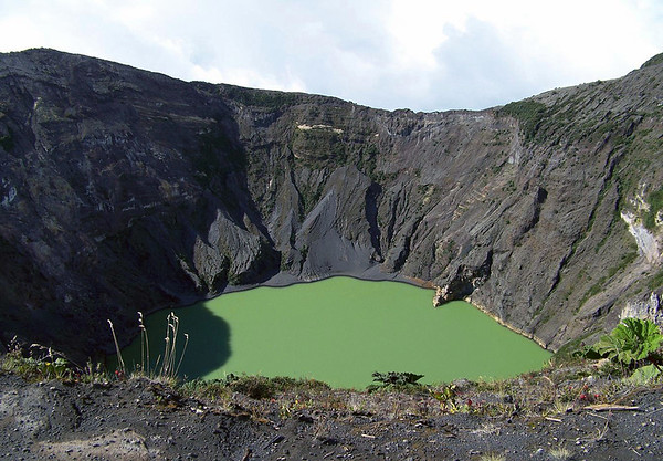 Volcan Irazu - Diego de la Haya Crater - the green hue color is created by rain water dissolving the minerals along the crater wall - Irazu Volcano National Park - Cartago province
