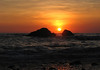 Sunset at Playa Tortuga (Turtle Beach) - between the coastal rock outcrops - Puntarenas province