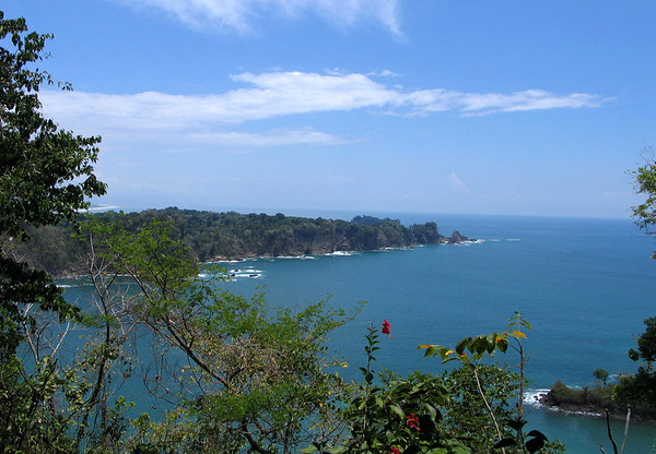 From the Sendero Mirador Trail (Window Path) - across the inlet to Playa Puerto Escondido (Hidden Port Beach) - to Punta Serrucho (Handsaw) - and Isla Mogote (also called Isla Verde, Green Island), directly behind the point - Manuel Antonio National Park (established 1972) - Puntarenas province