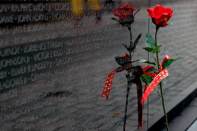 040918 0203 Washington DC - Vietnam Veteran Memorial Wall Rose 1 _D _E _N ~E ~L
