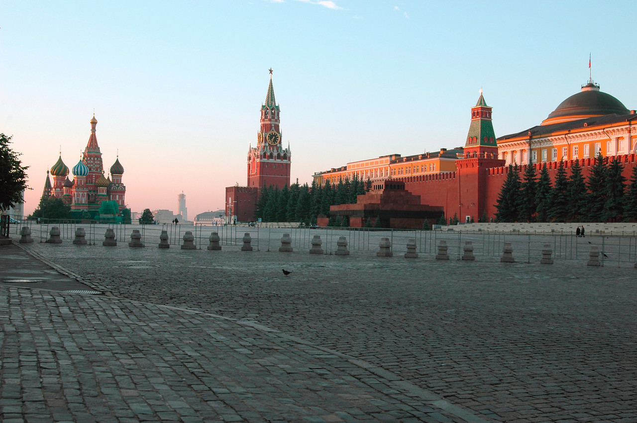 040819 0141 Moscow - Early Morning Red Square St  Basil and clock tower AA _H _J ~E ~L