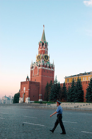 040819 0132 Moscow - Early Morning Red Square clock tower with Guard _H _J ~E ~P
