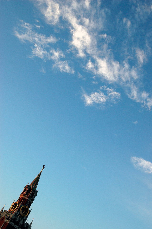 040819 0134 Moscow - Early Morning Red Square clock tower and sky _H _J ~E ~P