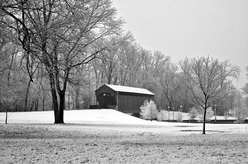 Morning Snow on New Brownsville Covered Bridge