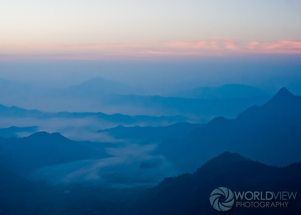 Sunrise and mist from Phu Chi Fa mountain (Thailand)