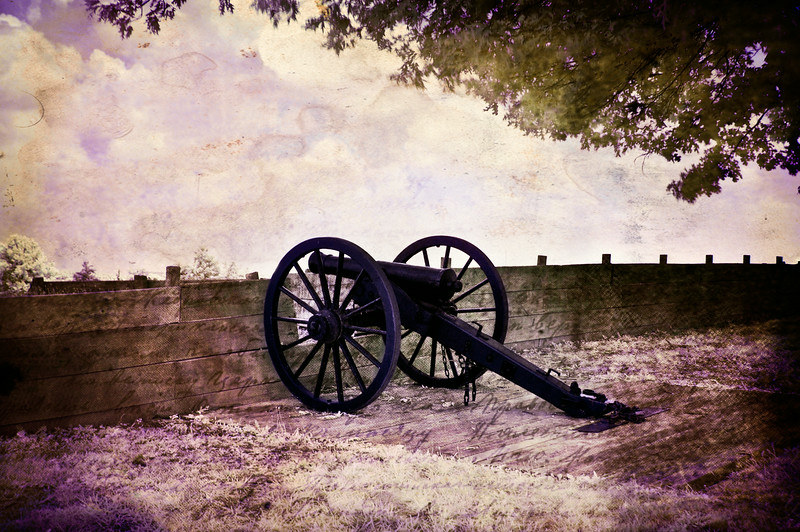 Canon at Fort Williams in Glasgow, Kentucky.  Infrared taken with Nikon D40 and Hoya RM72. Edited with Photoshop 7.