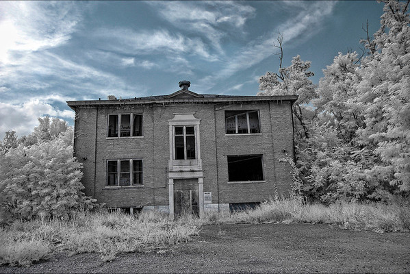 Infrared photography of Old high school, Edmonton KY.