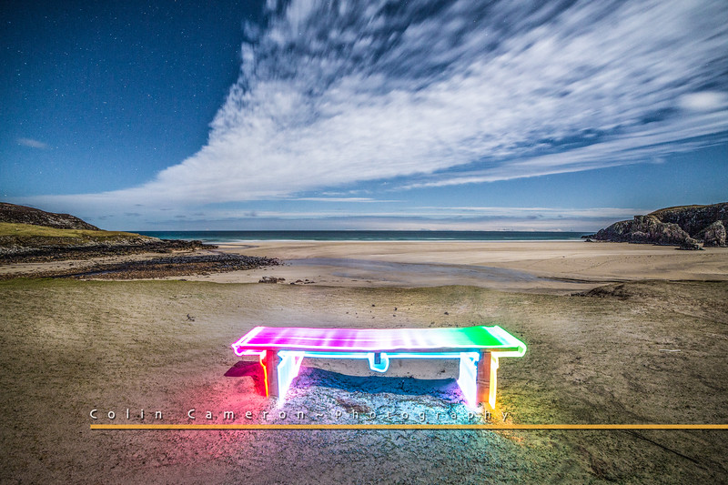 Technicolour Dream Bench on garry beach.