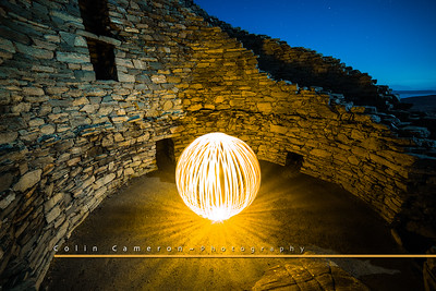 Ball of the Broch  A bright lightpainted orb inside the Broch, Dun Carloway.