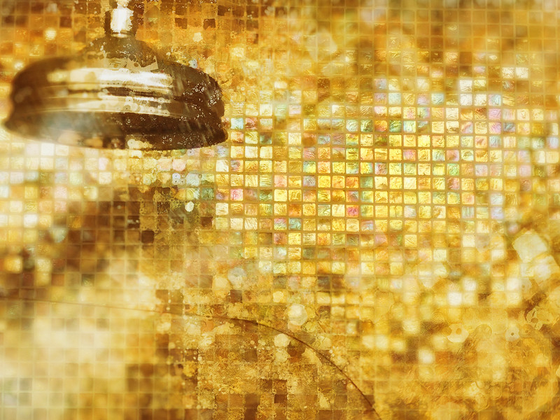 Shower head & mosaic tiles