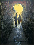 Two boys in a Whitby tunnel