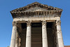 Temple of Augustus - where above the Corinthian capitals are engraved : ROMAE · ET · AUGUSTO · CAESARI · DIVI · F · PATRI · PATRIAE - meaning : To Rome and Caesar Augustus, son of a diety, father of the homeland.  Here in Pula city.