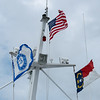 Flags flying on our ferry to Bald Head Island