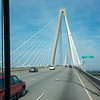 Crossing the Arthur Ravenel Jr. Bridge as seen through our bus window
