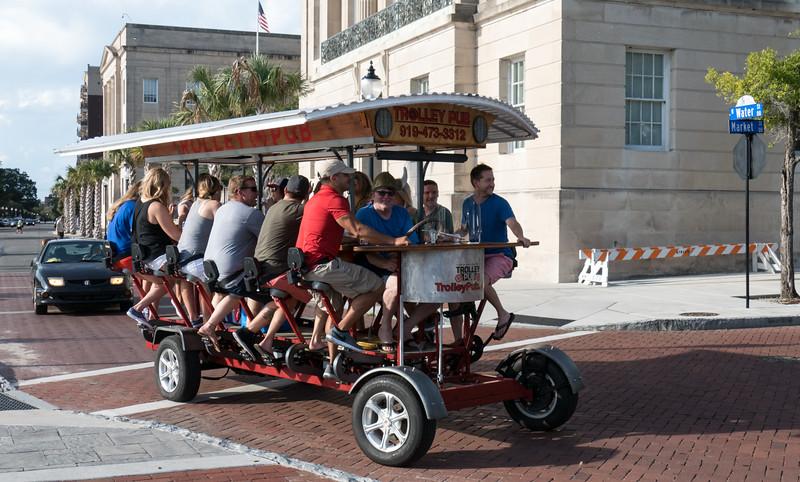 Trolley Pub cruising along the riverfront
