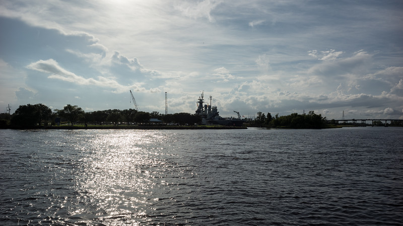 View of the riverfront & the U.S.S. North Carolina in the distance