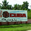 Cuban sign depicting the knocking out of the American embargo