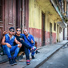 HAVANA, CUBA.  March 19, 2016.  Cuban men celebrating on the street in Old Havana, Cuba, the day before US President Barack Obama's historic visit.