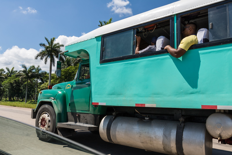 Truck converted to a bus, Cuba