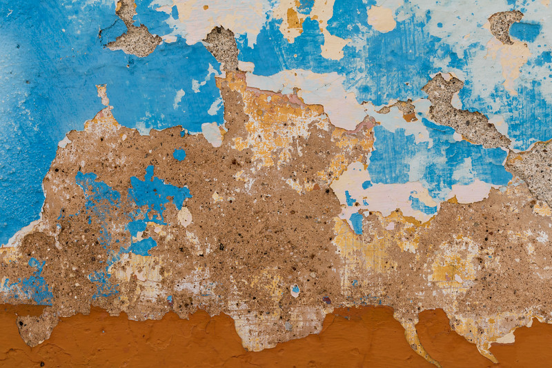 Blue and orange abstract view of peeling paint, Trinidad