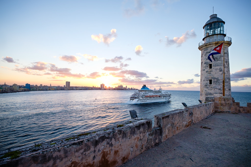 Cruise ship departing Havana. Cuba.