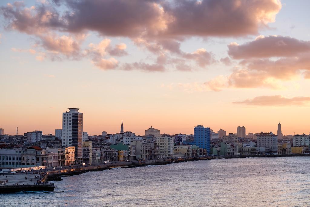 Havana's malecon at sunset. Havana, Cuba.
