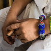 Symbolic bracelets on hand of the High Priest, Temple of Yemaya, Trinidad