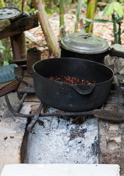 Cacao beans roasting in an iron pod at a farm near Baracoa