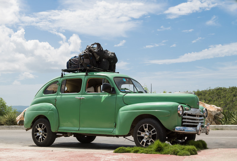Classic car loaded for travel cross-country
