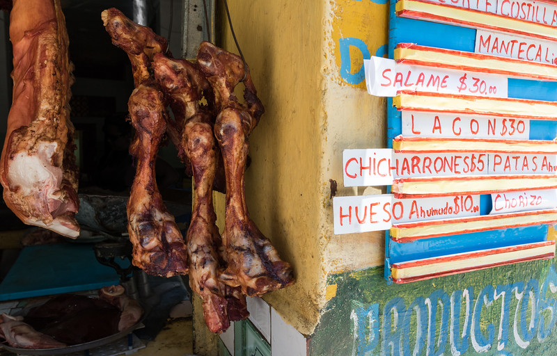 Smoked pork and bones for sale, Havana