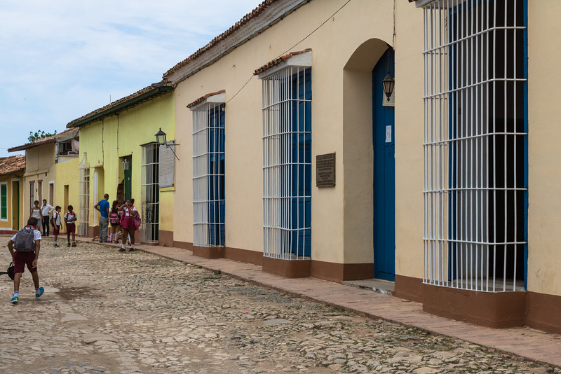 Colonial houses and cobblestone street, Trinidad