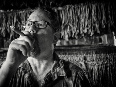 Smoking a fresh Cuban cigar