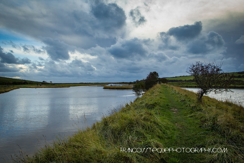 Cuckmere River at Seven sisters Park before a storm